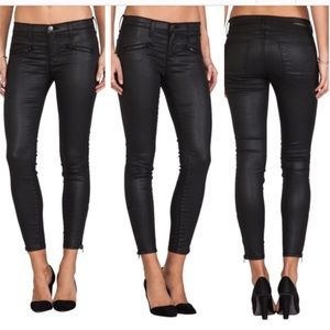 CURRENT/ELLIOTT Stiletto black coated skinny jeans